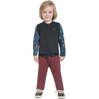 Conjunto Infantil Masculino Camiseta, Colete e Calça de Moletom BG31074