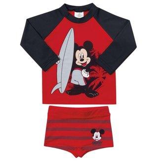 Conjunto Infantil Masculino Camiseta e Sunga Boxer Mickey Com Fator de Proteção Marlan