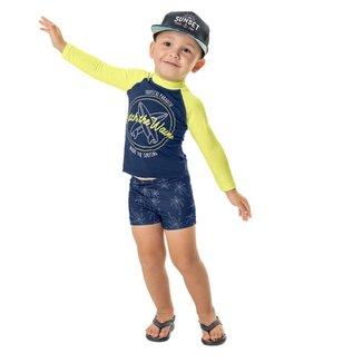Conjunto Infantil Masculino Camiseta e Sunga Boxer Tropical Paradise
