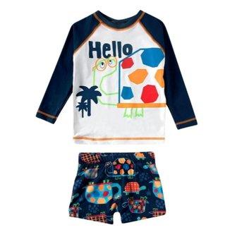 Conjunto Infantil Masculino Tip Top Camiseta e Sunga Tartaruga Com Fator de Proteção