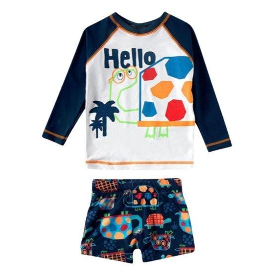 Conjunto Infantil Masculino Tip Top Camiseta e Sunga Tartaruga Com Fator de Proteção - Marinho