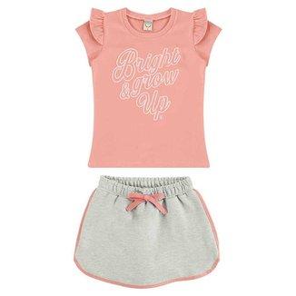 Conjunto Infantil Menina Blusa E Short-Saia BG