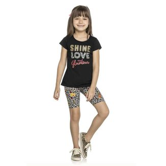 Conjunto Infantil Menina Elian Shine Love Preto