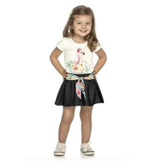 Conjunto Infantil Menina Pássaro Blusa e Shorts-Saia Elian
