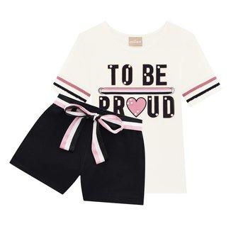 Conjunto Infantil Milon Blusa Com Shorts Molicotton To Be Feminino