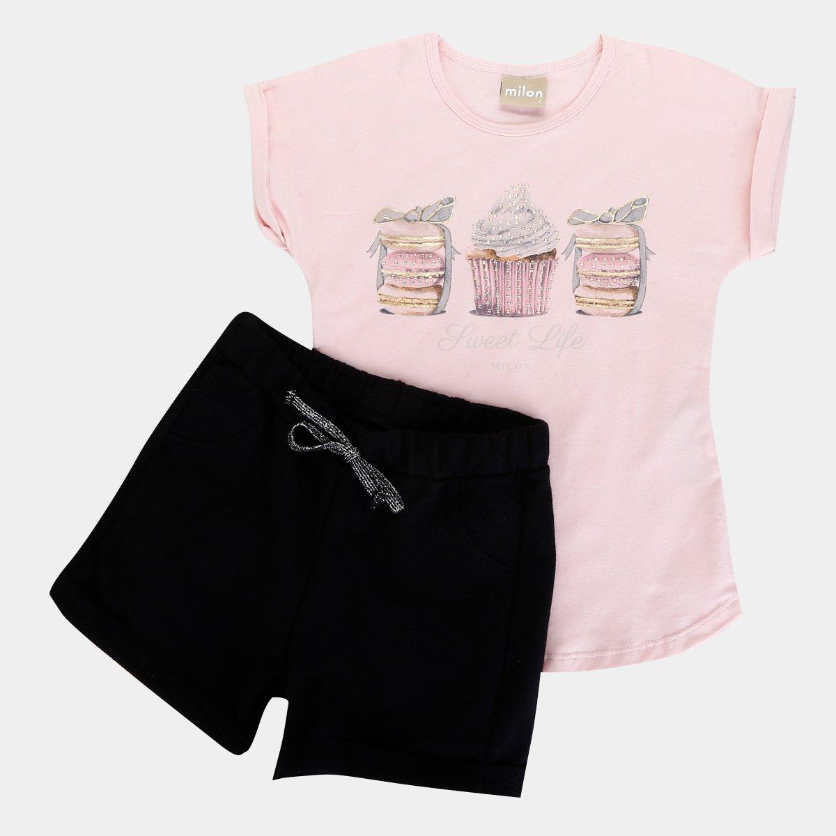 Conjunto Infantil Milon Blusa Cottonshort Moletom Feminino Rosa E Preto
