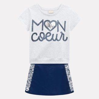 Conjunto Infantil Milon Blusa + Short-Saia Feminino