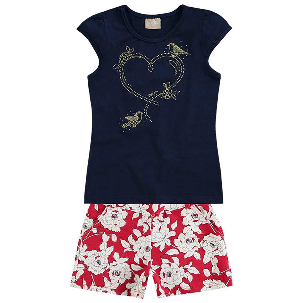 Marinho Milon Conjunto Apliques Floral Feminino Conjunto e e Milon Infantil Infantil Floral wAxPTfq1w
