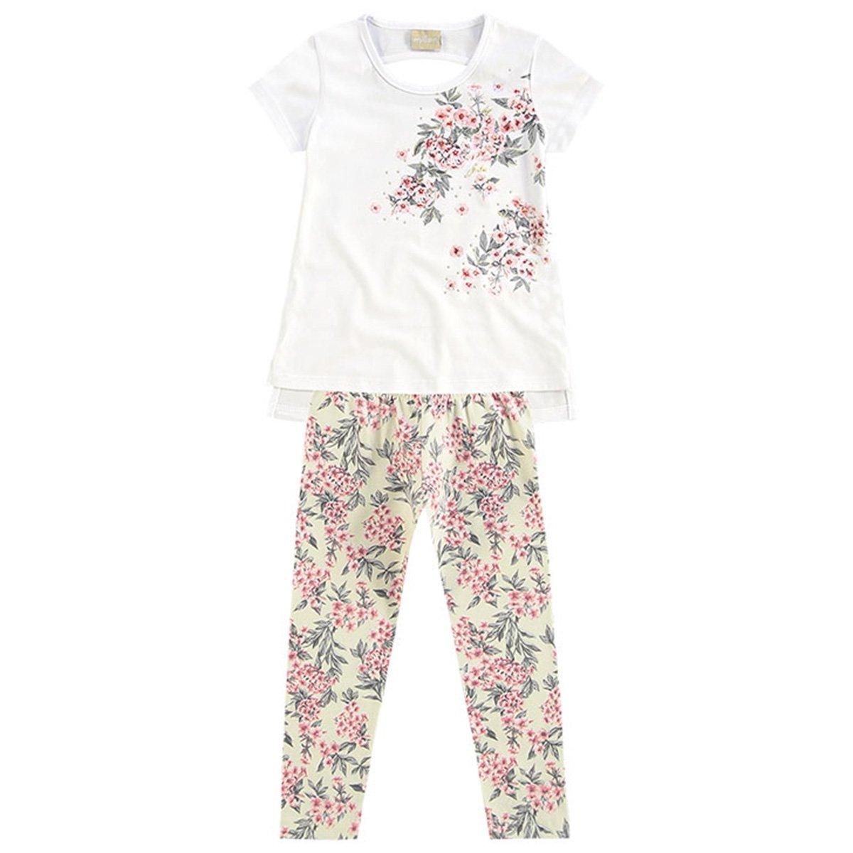 Infantil Milon Milon Branco Feminino Conjunto Infantil Floral Feminino Conjunto Floral tqwWx7OF
