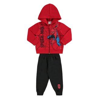 Conjunto Infantil Moletom Marvel Spider-Man Capuz Masculino