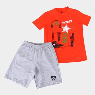 Conjunto Infantil MR. Kitsch Camiseta Rock Sound + Short Liso Masculino