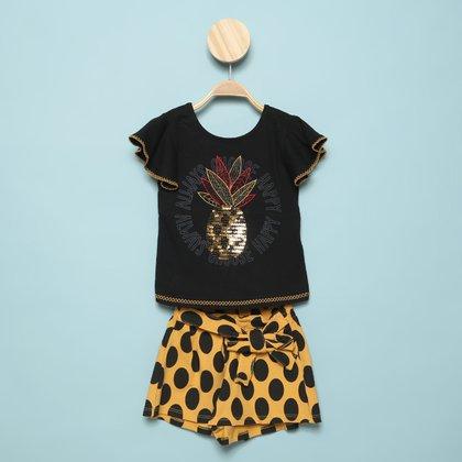 Conjunto Infantil Nanai Abacaxi Bordado Blusa + Short Feminino