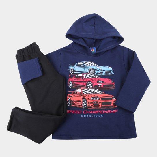 Conjunto Infantil Pipa Carros Capuz Masculino - Marinho