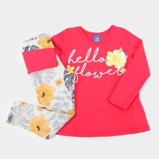 Conjunto Infantil Pipa Hello Flower Feminino