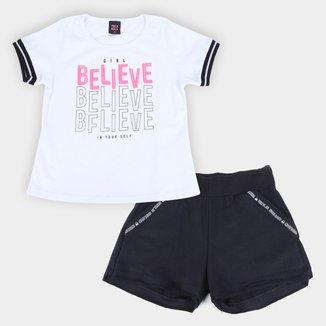 Conjunto Infantil Pulla Bulla Blusa Paetês+Shorts Cotton
