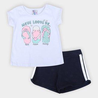 Conjunto Infantil Pulla Bulla Blusa+Shorts Cotton Feminino