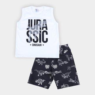 Conjunto Infantil Pulla Bulla Regata+Bermuda Moletinho Jurassic Masculino