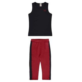Conjunto Infantil Regata E Legging Preto Vermelho UV50+DRY