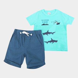 Conjunto Infantil Rovitex Camiseta Maritimo+Bermuda Sarja Masculino