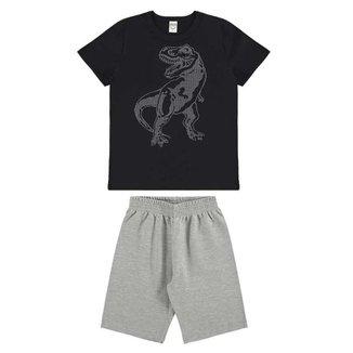 Conjunto Infantil T-Rex Camiseta E Bermuda Moletinho BG