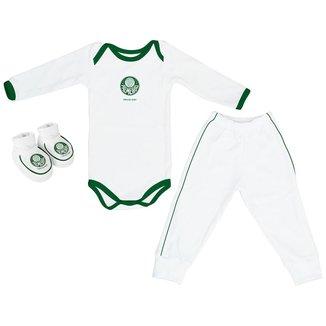 Conjunto Infantil Torcida Baby Palmeiras Longo Body + Calça + Pantufa