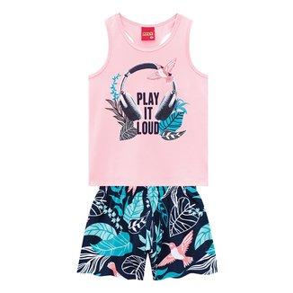 Conjunto Juvenil Kyly Regata Floral Beija-Flor + Shorts Feminino