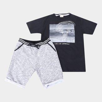 Conjunto Juvenil Milon Camiseta + Bermuda Moletom Masculina