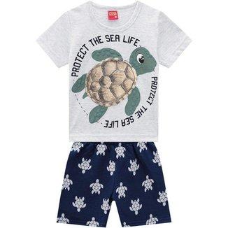 Conjunto Kyly Bebe Masculino Camiseta + Bermuda Tartarugas