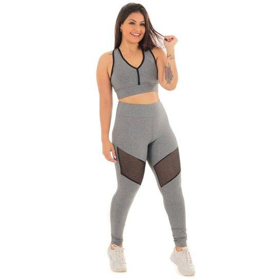 Conjunto legging telinha com top - Mescla