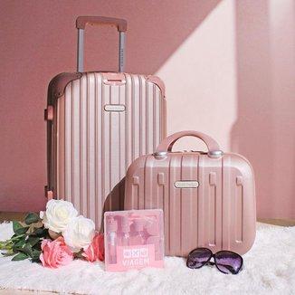 Conjunto mala e frasqueira de viajem Contempo Rose Jacki Design