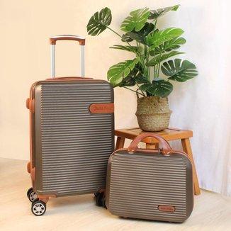 Conjunto mala e frasqueira de viajem Premium Bronze Jacki Design