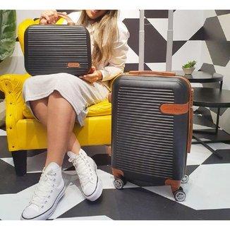 Conjunto mala e frasqueira de viajem Premium preto Jacki Design