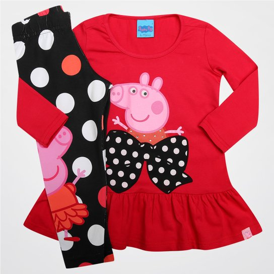 Conjunto Malwee Peppa Pig Infantil - Vermelho