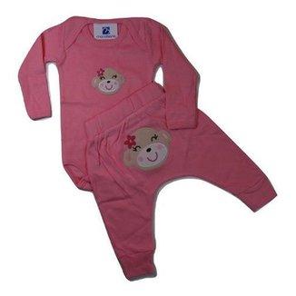 Conjunto Menina Bebe Body Calça Bordado Bumbum Até 3 Anos