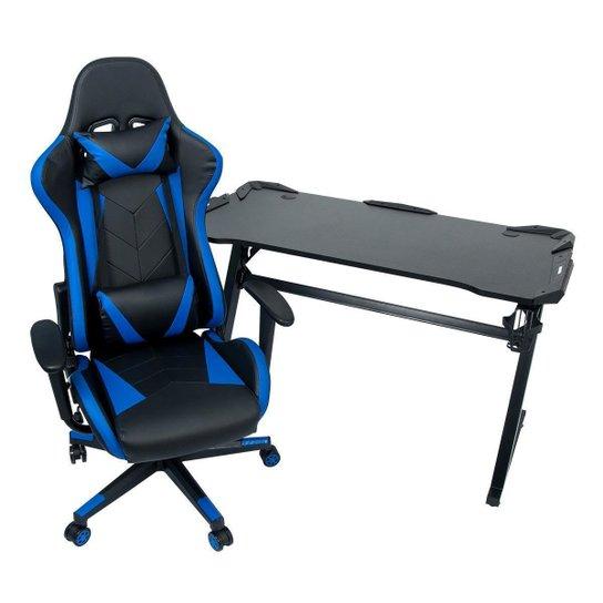 Conjunto Mesa Gamer LED Pelegrin PEL-004P Preta e Cadeira Gamer Pelegrin PEL-3019 Azul - Preto