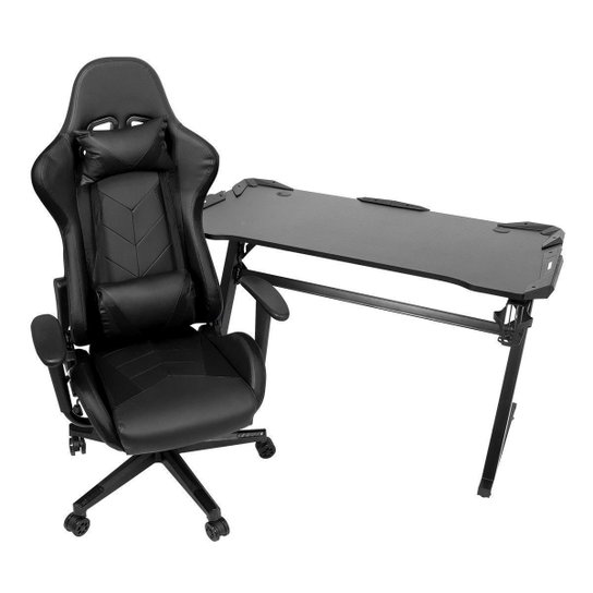 Conjunto Mesa Gamer LED Pelegrin PEL-004P Preta e Cadeira Gamer Pelegrin PEL-3019 Preta - Preto