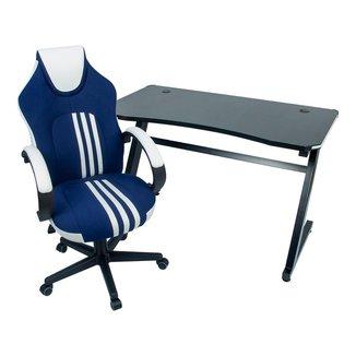 Conjunto Mesa Gamer LED Pelegrin PEL-007P Preta e Cadeira Gamer Pelegrin PEL-3005 Azul Branca Preta