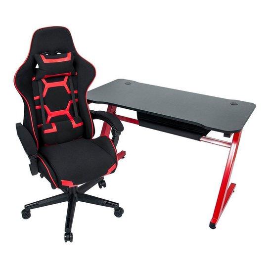 Conjunto Mesa Gamer Pelegrin PEL-003P Preta e Vermelha e Cadeira Gamer Pelegrin PEL-3018 Vermelha - Preto+Vermelho