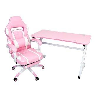Conjunto Mesa Gamer Pelegrin PEL-008P Rosa e Cadeira Gamer Pelegrin PEL-3020 Rosa