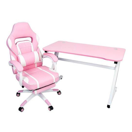 Conjunto Mesa Gamer Pelegrin PEL-008P Rosa e Cadeira Gamer Pelegrin PEL-3020 Rosa - Rosa