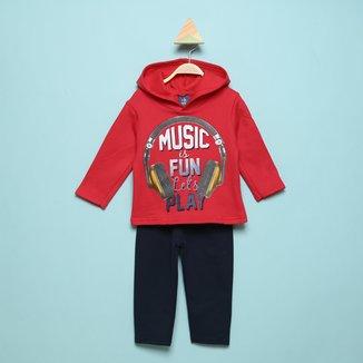 Conjunto Moletinho Infantil Pipa Music Play Com Capuz Masculino