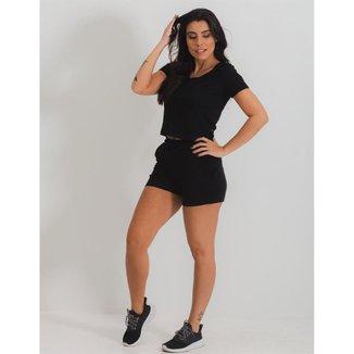 Conjunto Moletinho Preto - Shorts e T-Shirt - G