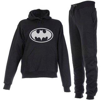 Conjunto Moletom Batman Infantil Juvenil Peluciado Preto