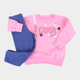 Conjunto Moletom Bebê For Girl Cool Girl Feminino