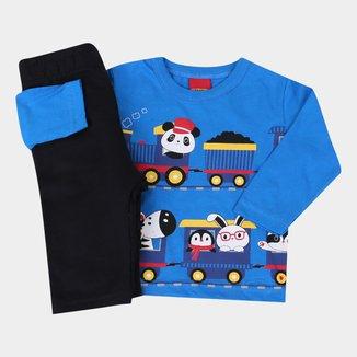 Conjunto Moletom Bebê Kyly Camiseta Manga Longa Trenzinho Masculino