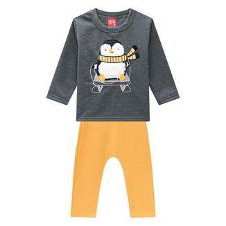 Conjunto Moletom Bebê Kyly Peluciado Pinguim