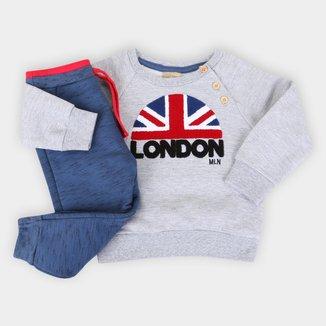 Conjunto Moletom Bebê Milon Peluciado London Masculino