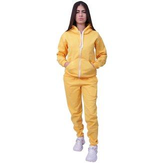 Conjunto Moletom Com Ziper Feminino Amarelo