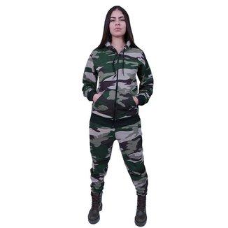 Conjunto Moletom Com Ziper Feminino Camuflado