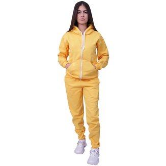 Conjunto Moletom Com Ziper Plus Size Amarelo